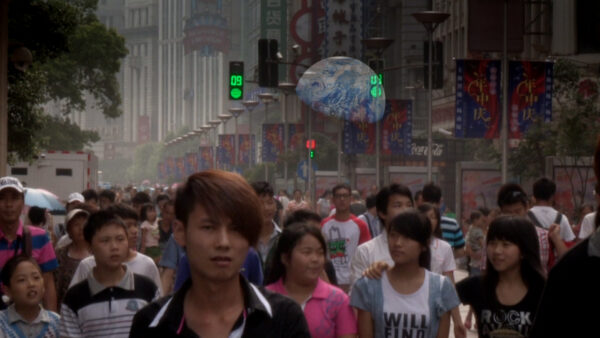 Asian crowds and planet