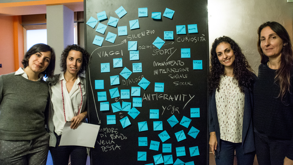 Le ricercatrici, conduttrici del workshop ADAPT-r Dorotea Ottaviani, Alice Buoli, Cecilia De Marinis e Maria Vetcheva @ Samantha Caligaris